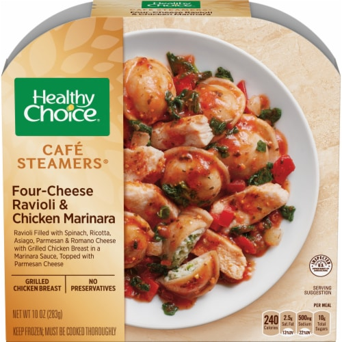 Healthy Choice Cafe Steamers Four Cheese Ravioli & Chicken Marinara Frozen Meal Perspective: front