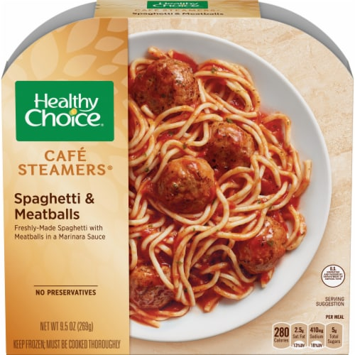 Healthy Choice Cafe Steamers Spaghetti & Meatballs Perspective: front