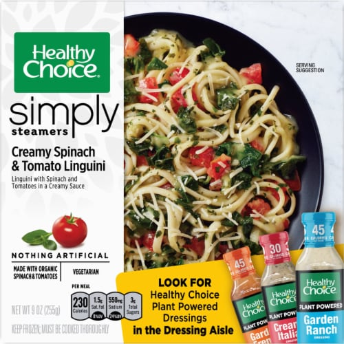 Healthy Choice Simply Steamers Creamy Spinach & Tomato Linguini Perspective: front