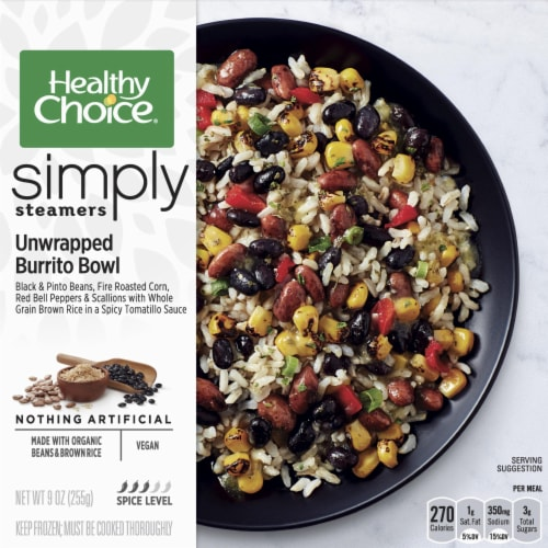 Healthy Choice Simply Steamers Unwrapped Burrito Bowl Perspective: front