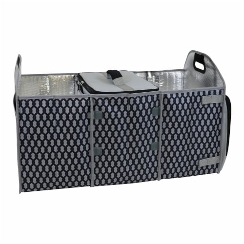 Homz Insulated 3 Section Trunk Organizer Storage Box with Cooler Bag, Gray/Black Perspective: front