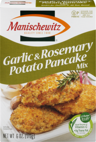 Manischewitz Garlic & Rosemary Potato Pancake Mix Perspective: front