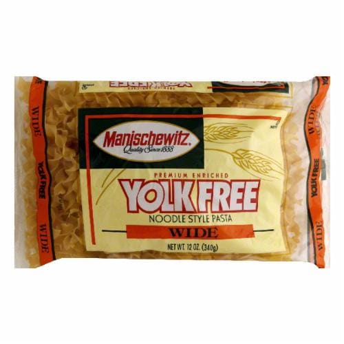 Manischewitz No Yolk Wide Noodles Perspective: front