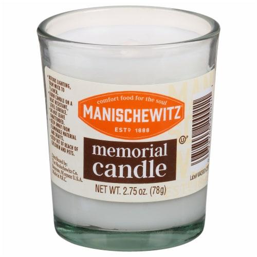 Manischewitz Glass Memorial Candles Perspective: front