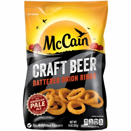 McCain Craft Beer Thin Cut Battered Onion Rings Perspective: front