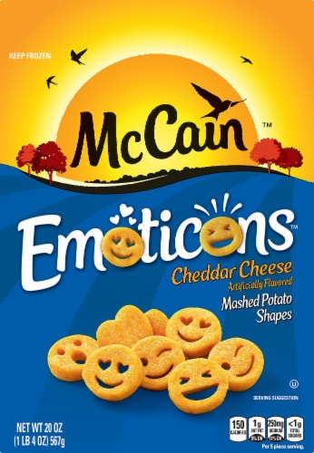 McCain Emoticons Cheddar Cheese Flavored Mashed Potato Shapes Perspective: front