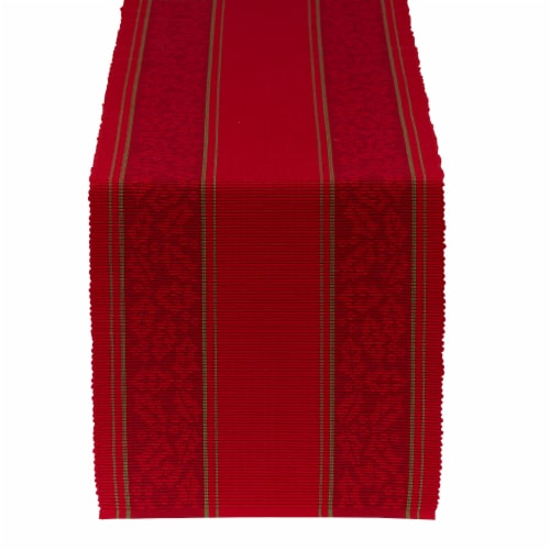 DII Holly Stripe Jacquard Table Runner 108 Perspective: front