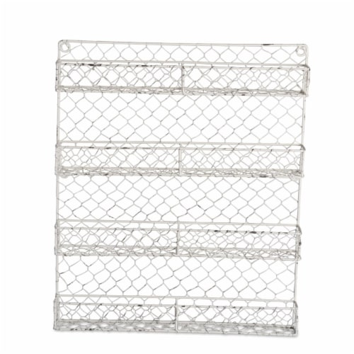 Design Imports Antique White 4 Row Chicken Wire Spice Rack Perspective: front