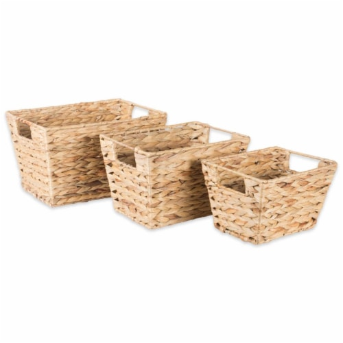 Design Imports Assorted Water Hyacinth Basket - Set of 3 Perspective: front