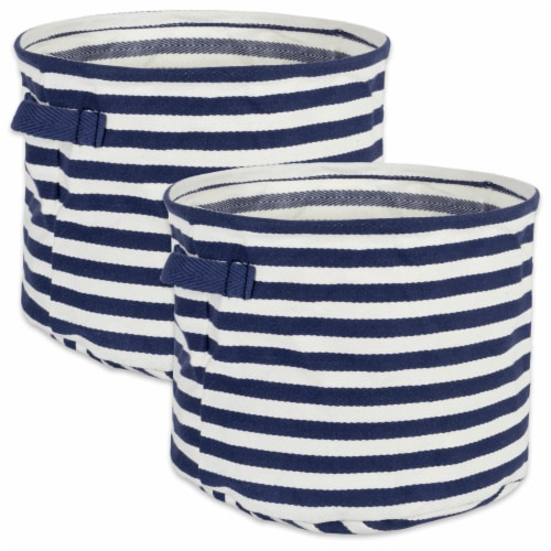 DII Pe Coated Herringbone Woven Cotton Laundry Bin Stripe French Blue Round Small  (Set of 2) Perspective: front
