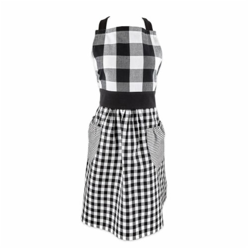 Design Imports Z02374 Black & White Gingham Apron Perspective: front