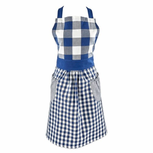 Design Imports Navy & Off White Gingham Apron Perspective: front