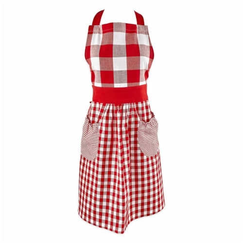 Design Imports Z02398 Red & White Gingham Apron Perspective: front