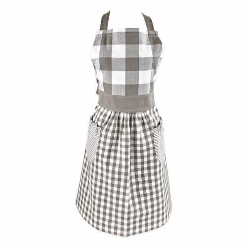 Design Imports Z02410 Grey & White Gingham Apron Perspective: front