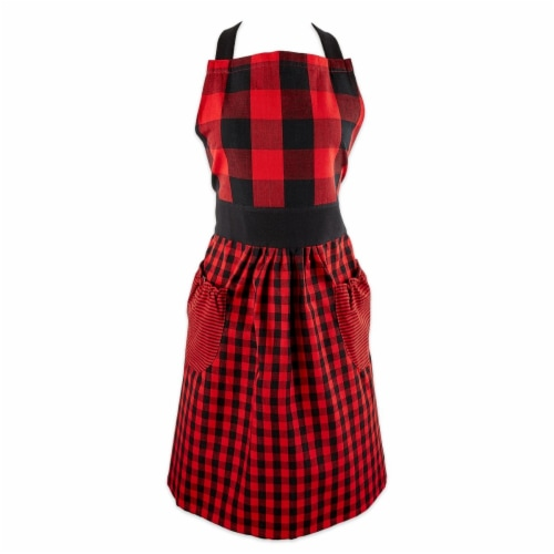 Design Imports Z02422 Red & Black Gingham Apron Perspective: front