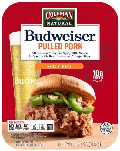 Coleman Natural Foods Budweiser Pulled Pork in Spicy BBQ Sauce Perspective: front