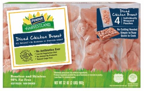 Perdue Harvestland Boneless & Skinless Diced Chicken Breast Perspective: front
