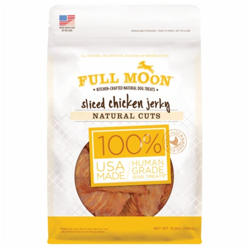Full Moon100% Human Grade Sliced Chicken Jerky Dog Treats Perspective: front