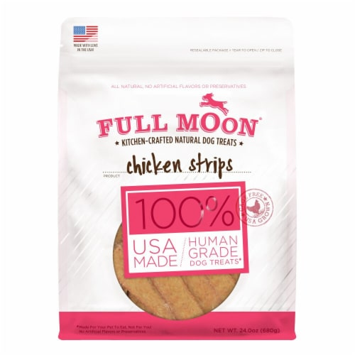 Full Moon Chicken Strips Kitchen-Crafted Natural Dog Treats Perspective: front