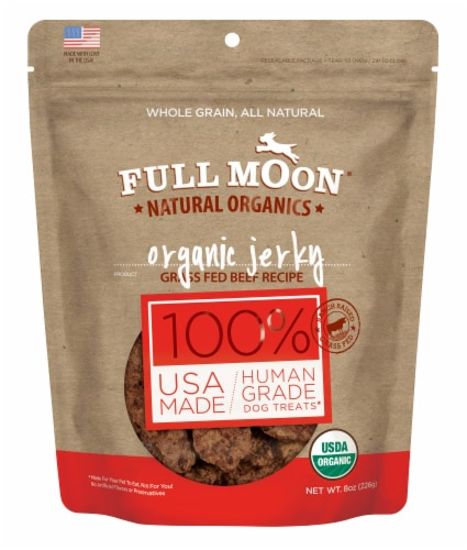 Full Moon Organic Beef Jerky Dog Treats Perspective: front