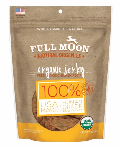Full Moon Natural Organic Chicken Jerky Dog Treats Perspective: front