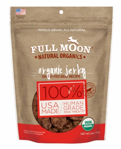 Full Moon Natural Organic Beef Jerky Dog Treats Perspective: front