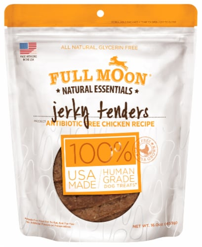Full Moon Natural Essentials Chicken Jerky Tenders Dog Treat Perspective: front