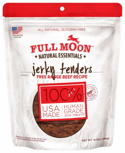 Full Moon Natural Essentials Beef Jerky Tenders Dog Treat Perspective: front