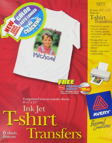 Avery Ink Jet T-Shirt Transfers - 6 Pack Perspective: front