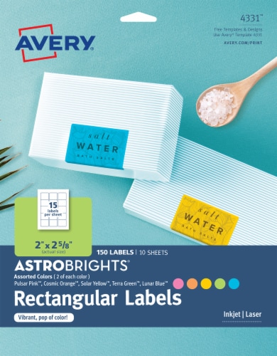 Avery Astrobrights Rectangular Color Labels Perspective: front