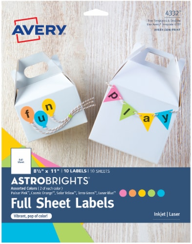 Avery Astrobrights Color Labels Perspective: front