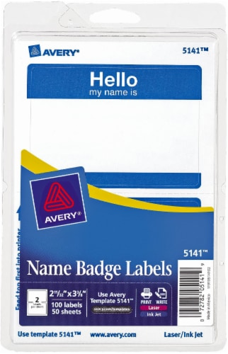 Avery Laser Print Name Badge Labels - White Perspective: front