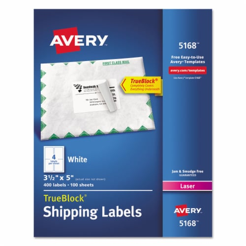 Avery Label,Lasr,3.5x5,4/Sh,Wht 5168 Perspective: front
