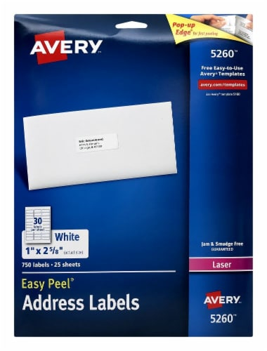 Avery Easy Peel Laser Print Address Labels - White Perspective: front