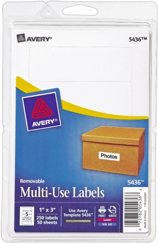 Avery Removable Multi-Use Label 250 Pack - White Perspective: front