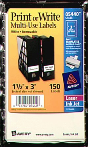 Avery Removable Print or Write Multi-Use Labels 150 Pack - White Perspective: front