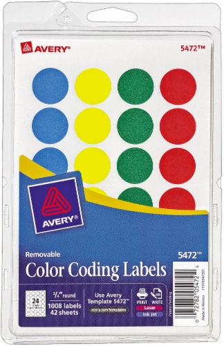 Avery Removable Color Coding Round Labels 1008 Pack Perspective: front