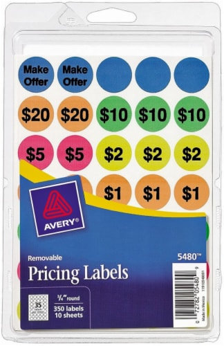Avery Removable Pricing Round Labels - 350 Pack Perspective: front