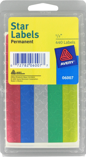 Avery Foil Star Labels - Assorted Perspective: front