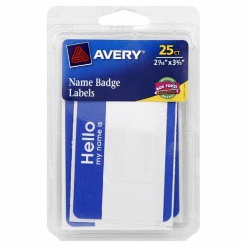 Avery Name Badge Labels - 25 Pack - White/Blue Perspective: front