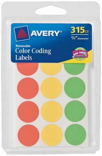 Avery Removable Color Coding Round Labels - 315 Pack - Multi-Color - 0.75 Inch Perspective: front