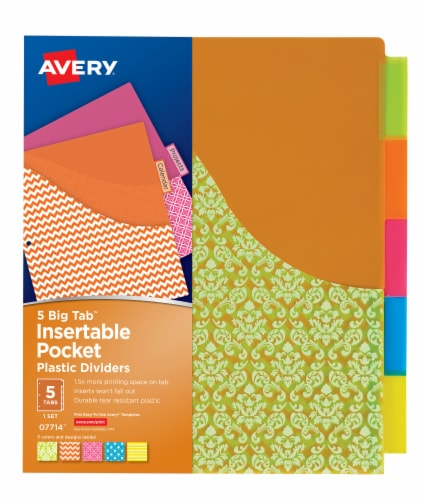 Avery Big Tab Insertable Plastic Dividers with Pocket - Multi-Color Perspective: front