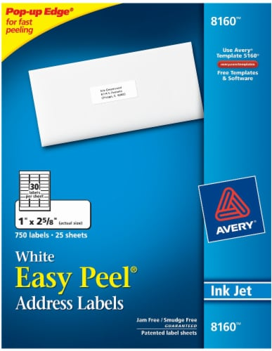Avery Easy Peel Address Labels 750 Pack - White Perspective: front