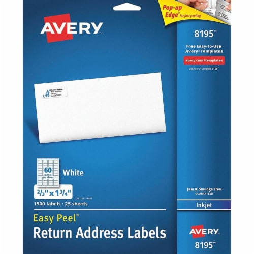 Avery Label,Rtn Adr60-Up,Ij,Wht 8195 Perspective: front