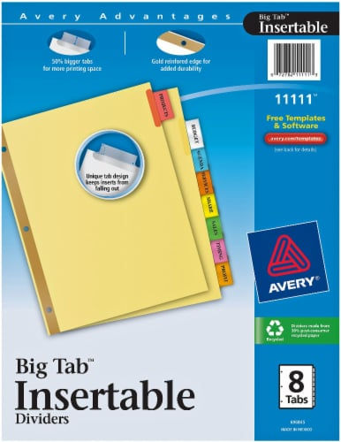 Avery Advantages Big Tab Insertable Dividers Perspective: front