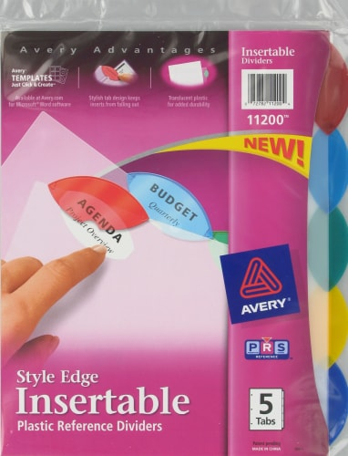 Avery Style Edge Insertable Plastic Dividers - 5 Pack Perspective: front