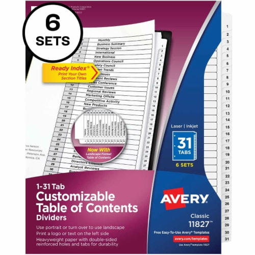 Avery® Ready Index Index Divider 11827 Perspective: front