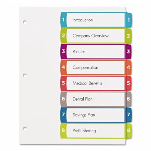 Avery Customizable Toc Ready Index Multicolor Dividers, 1-8, Letter 11841 Perspective: front