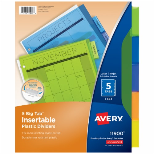 Avery Big Tab Insertable Plastic Dividers Perspective: front