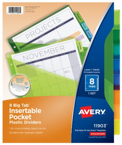 Avery Big Tab Pocket Insertable Plastic Dividers Perspective: front